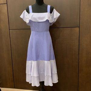 J. Crew Silk Stripe Ruffle Cold Shoulder Dress 8